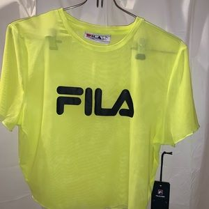 Women's FILA Lime Mesh Crop Top